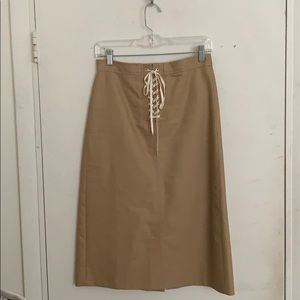 J.crew tan lace up pencil skirt